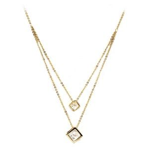 Gold duplexes cubic crystal necklace